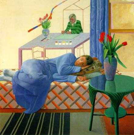hockney_ModelWithUnfinishedSelfPortrait_1977