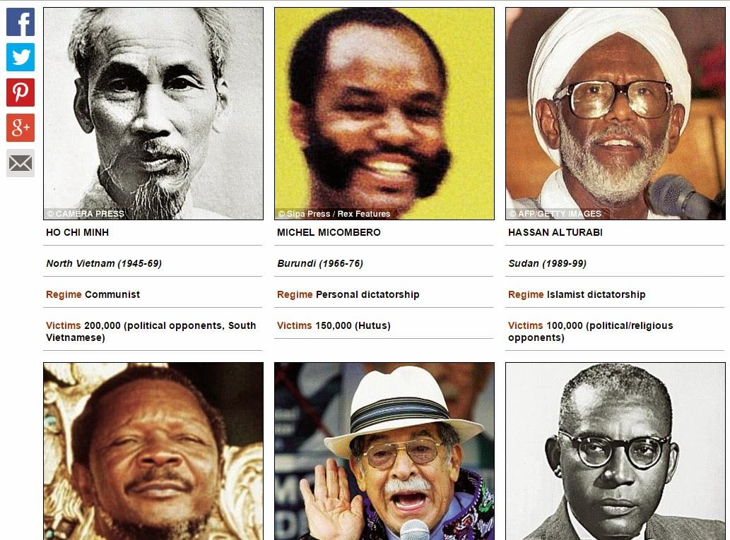 Hồ Chí Minh nằm trong danh sách những tên trùm diệt chủng tàn ác nhất thế  kỷ 20. Nguồn: